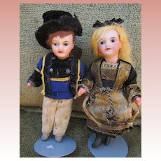 Antique French Unis Miniature Dolls with Compo Bodies, Original clothing