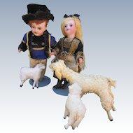 Miniature Antique German Putz Sheep