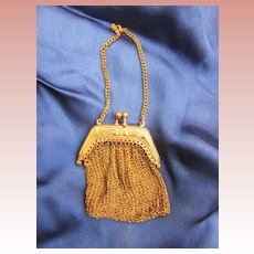 Tiny Mesh Doll's Purse in Gold