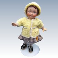 Tiny Yellow Knit doll's Cardigan and Hat