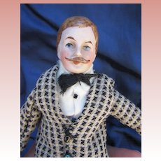 Antique dollhouse Gentleman with some Original clothing