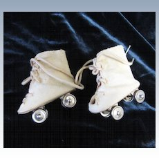 Vintage Oilcloth Skates for Composition Doll