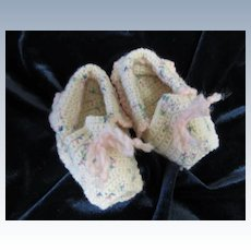 Vintage Crocheted Booties for Large Doll