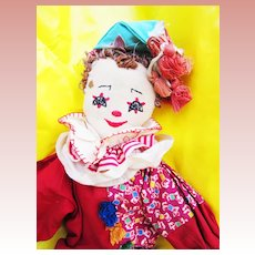 Vintage Cloth Clown Doll
