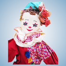 Vintage Cloth Clown Embroidered Face Doll