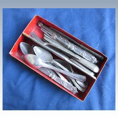 Antique Cutlery Tray and Utensils