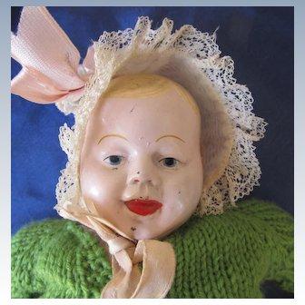 Antique Rare Unusual Metal Head Baby