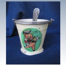 Vintage Metal Pail and Spoon for Doll