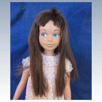 Vintage Mattel Brunette Skipper wearing Tagged Pajamas