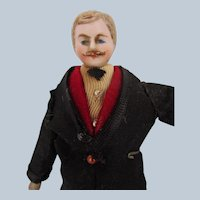 Antique German Bisque Dollhouse Man with Mustache