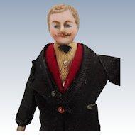 Antique German Bisque Dollhouse Man with Mustache