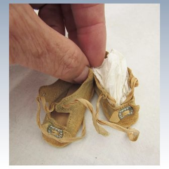 Antique Tiny German Doll Shoes