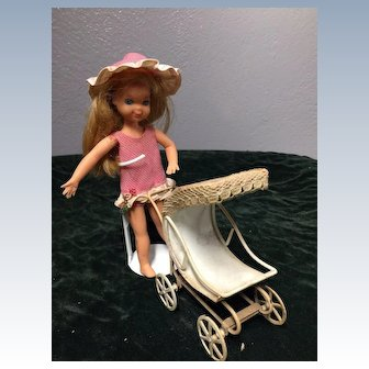 Vintage Small Doll's Metal Stroller