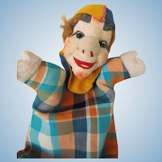 Vintage Clown Hand Puppet in Papier Mache