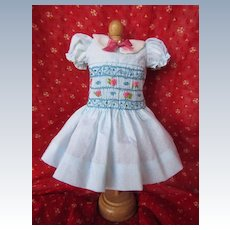 "Hand Smocked  and Embroidered Dotted Swiss Dress for 14"" Doll"