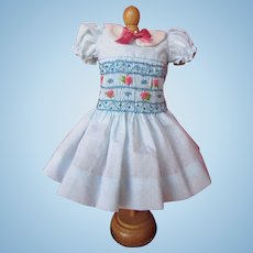 """Hand Smocked  and Embroidered Dotted Swiss Dress for 14"""" Doll"""