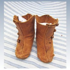 Antique Side Button Leather Boots for French or German Doll