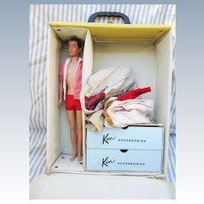 Vintage Ken Doll with Trunk and Tagged Clothing