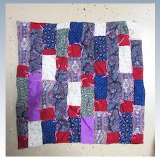 Vintage Tufted  and Pieced Doll Quilt