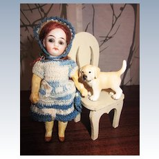 Antique Closed Mouth glass eyed Dollhouse Girl