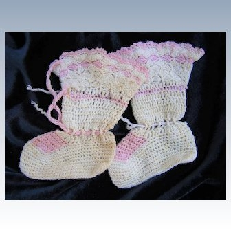 Vintage Doll size Crocheted Booties