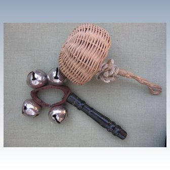 Two Antique Rattles for doll to hold