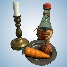 Vintage Candlestick, wine Bottle and Plate for Doll's Table