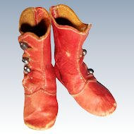 Small Red Leather Boots for a Fashion Doll
