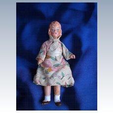 Vintage Dollhouse Composition Girl in Floral Dress