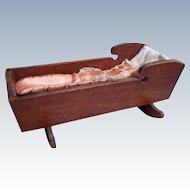 Wooden Hand Made Doll Cradle of 20's