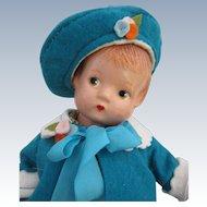 Vintage Patsyette by Effanbee in Felt Coat and Hat