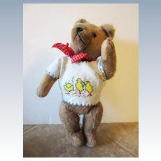 Vintage Jointed German Hermann Bear Wearing Embroidered Bib