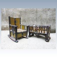 Antique Iron Dollhouse  Crib and Rocker Furniture