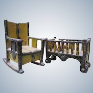 Antique Iron Dollhouse  Crib and Rocker Furniture