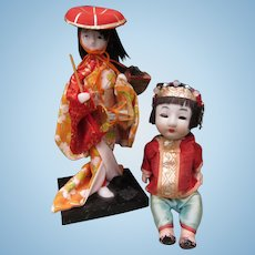 Two Vintage Small Japanese Dolls