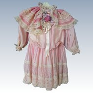 Ruffly and lacy vintage Dress for antique doll