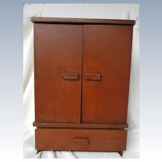 1940 Wooden Doll Wardrobe with Hangars for Medium Doll