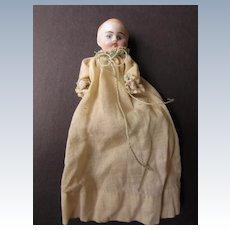 Antique German Bisque Dollhouse Baby in gown