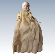 Antique German Bisque Dollhouse Baby in gown