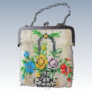 Antique Floral Beaded Purse for Larger Doll