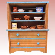Small Wood Vintage Doll's Kitchen Cabinet