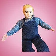 Vintage  60's Dollhouse Hard Plastic Farmer Man