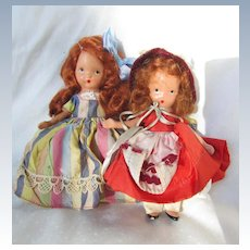 Two Vintage Nancy Ann Storybook Dolls with Stiff Legs
