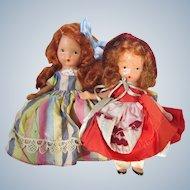 Two Vintage Nancy Ann Storybook Dolls with Stiff Legs