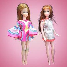 Two Vintage 1970 Dawn Dolls in Original Dresses
