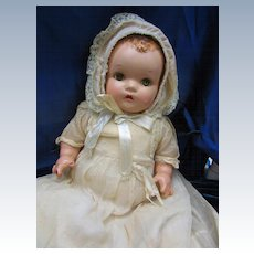 Vintage cloth bodied Compo Baby with sleep eyes and Old Clothing