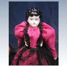 Small Antique China Head Doll in Pink