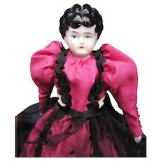 Small Antique China Head Doll in Pink - Red Tag Sale Item