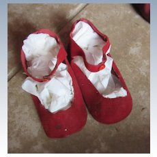 60's Red Doll Shoes in Cloth for Larger Doll