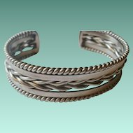 Heavy Vintage Navajo Sterling Twisted Rope Cuff Bracelet